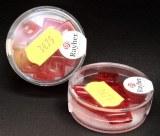Perles carres en verre, 12x12 mm, boite 12 pces,  rouge tuile