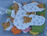 Petites pieces en bois: Moutons, 1-3 cm, sct.-LS 12 pces