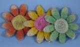 3 Fleurs en sisale, 10 cm, 2 couleurs, assorties