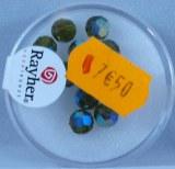 Perles rondes en verre facettees, 6 mm a¸, boite 12 pces, olive