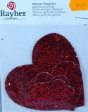 Coeur en tissu Glamour, 3-9 cm, sct.-LS 6 pces, rouge