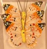Papillon en plumes, 6 cm, sct.-LS 3 pces, jaune clair