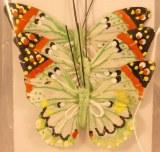 Papillon en plumes, 6 cm, sct.-LS 3 pces, vert clair