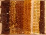 Bordures dentelles, 0,5-1,5 cm, carte-LS 6 types a 90 cm, brun fonce