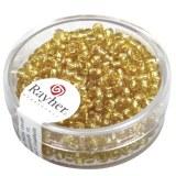 Rocailles.2.6 mm av.garniture d'argent boite 16 g or