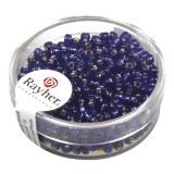 Rocailles.2.6 mm av.garniture d'argent boite 16 g bleu fonc