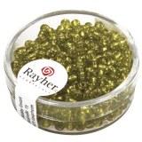 Rocailles.2.6 mm av.garniture d'argent boite 16 g vert clair