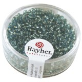 Rocailles. 2 mm ø. avec garniture argent boîte 17 g turquoise
