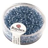 Rocailles. 2 mm ø. avec garniture argent boîte 17 g bleu clair