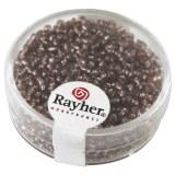Rocailles. 2 mm ø. avec garniture argent boîte 17 g lilas fonce