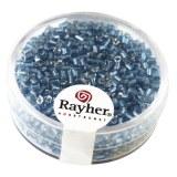 Chevilles en verre av.garniture d'argent 2x2 mm. boite 16 g turquoise