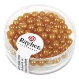 """Perles en verre """"Renaissance"""". 4 mm ø boîte 85 pces jaune d`or"""