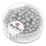 """Perles en verre """"Renaissance"""". 4 mm ø boîte 85 pces gris argente"""