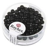 """Perles en verre """"Renaissance"""". 4 mm ø boîte 85 pces noir"""