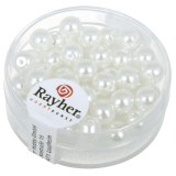 """Perles en verre """"Renaissance"""". 6 mm ø boîte 45 pces blanc neige"""