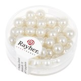 """Perles en verre """"Renaissance"""". 6 mm ø boîte 45 pces blanc"""