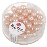 """Perles en verre """"Renaissance"""". 6 mm ø boîte 45 pces rose"""