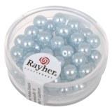 """Perles en verre """"Renaissance"""". 6 mm ø boîte 45 pces bleu clair"""