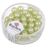 """Perles en verre """"Renaissance"""". 6 mm ø boîte 45 pces vert tilleul"""
