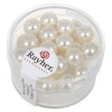 """Perles en verre """"Renaissance"""". 8 mm ø boîte 25 pces blanc"""