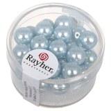 """Perles en verre """"Renaissance"""". 8 mm ø boîte 25 pces bleu clair"""