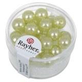 """Perles en verre """"Renaissance"""". 8 mm ø boîte 25 pces vert tilleul"""