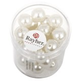 """Perles en verre """"Renaissance"""". 10 mm ø boîte 35 pces blanc"""