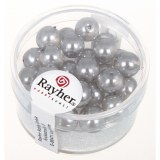 Perles en verre Renaissance 8 mm. boîte 25 pces. mi-transparentes gris argente