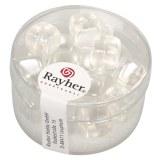 Perles en verre-Cube 8x9 mm. boite 18 pieces blanc neige