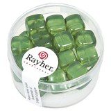 Perles en verre-Cube 8x9 mm. boite 18 pieces vert mai