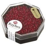 Premium-rocailles. 2.2 mm avec garniture d'argent rouge feu. boite 8 g