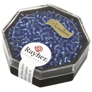Premium-rocailles. 2.2 mm avec garniture d'argent bleu azur. boite 12 g