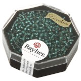 Premium-rocailles. 2.2 mm avec garniture d'argent bleu lagon. boite 12 g