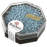 Premium-rocailles. 2.2 mm avec garniture d'argent aigue-marine. boite 12 g
