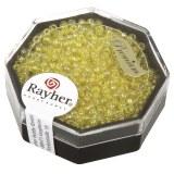 Premium-rocailles. 2.2 mm transparent Rainbow. boite 8 g jaune lumineux