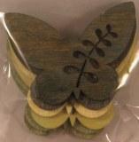 Miniat.en bois: Papillon, coupe au laser, 4,5 cm, 3 couleurs, sct.-LS 6 pces, Teintes vertes