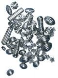 Perles metalliques en plastique, carte-LS 50 pces, argent ancien