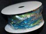 Melange de rubans avec perles + paillett, 7 mm, rouleau 3 m, turquoise et vert