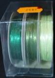 Ruban de satin, 2 mm, boite 3 rouleaux a 6 m, vert clair
