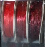 Ruban de satin, 2 mm, boite 3 rouleaux a 6 m,rouge