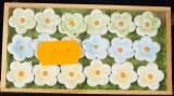 Taªtes de marguerites en polyresine, 1,5 cm, boite 18 pces, 3 couleurs