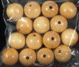 Perles en bois, polies, 16 mm a¸, sct.-LS 15 pces, nature