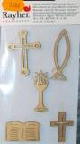 Miniatures en bois Motifs chretiens, 3-5 cm, sct.-LS 5 pces, or