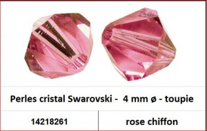 Perles cristal Swarovski -  4 mm a¸ - toupie - rose chiffon