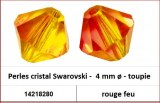 Perles cristal Swarovski -  4 mm a¸ - toupie - rouge feu