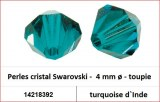 Perles cristal Swarovski -  4 mm a¸ - toupie - turquoise d`Inde