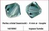 Perles cristal Swarovski -  4 mm a¸ - toupie - topaze fumee
