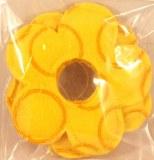 Fleurs en feutrine, brodees, 9 cm, sct.-LS 2 pces, jaune