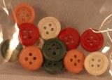 Boutons en bois, 1 cm a¸, sct.-LS 12 pces, peint, 4 couleurs