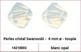 Perles cristal Swarovski -  4 mm a¸ - toupie - blanc opal